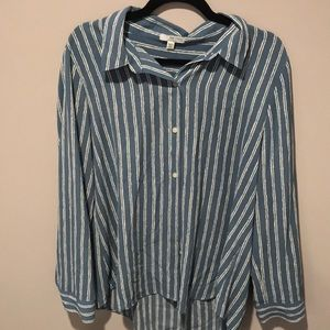 Halston blue and white striped button down